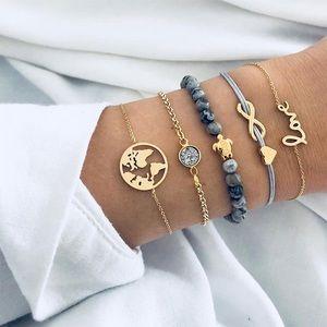 Jewelry - 5 Pcs Boho Bracelet Set w/ Turtle & World Map